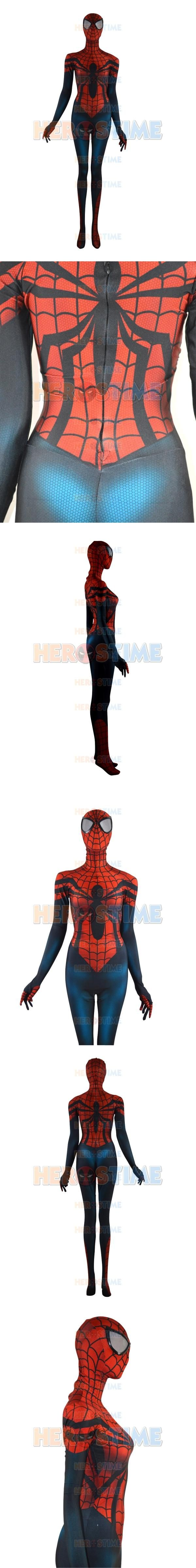 2015  Spider-Girl Costume Mayday Parker Morph Suit Print spiderman costume red and blue color