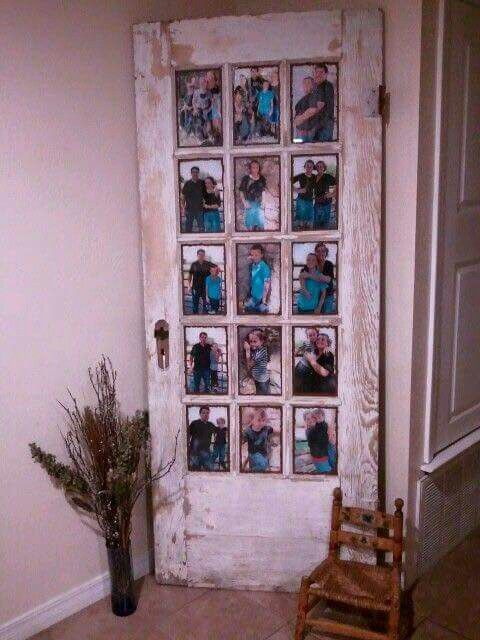 Old door with photographs in the window panes                                                                                                                                                                                 More