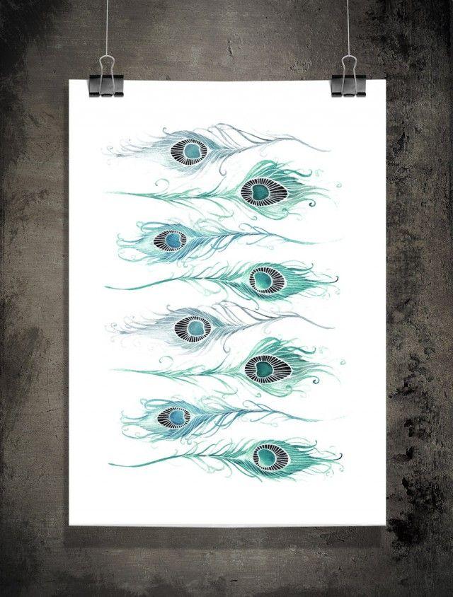 Ocellus - Sofie Rolfsdotter #nordicdesigncollective #sofierolfsdotter #ocellus #peacock #peacockfeather #feather #feathers #poster #swedishdesigner