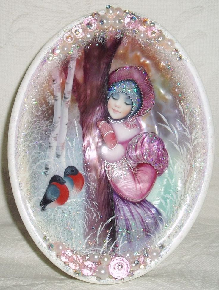 "Russian Lacquer box Shell Fedoskino ""Snow Maiden with Bullfinches"" Hand Painted"