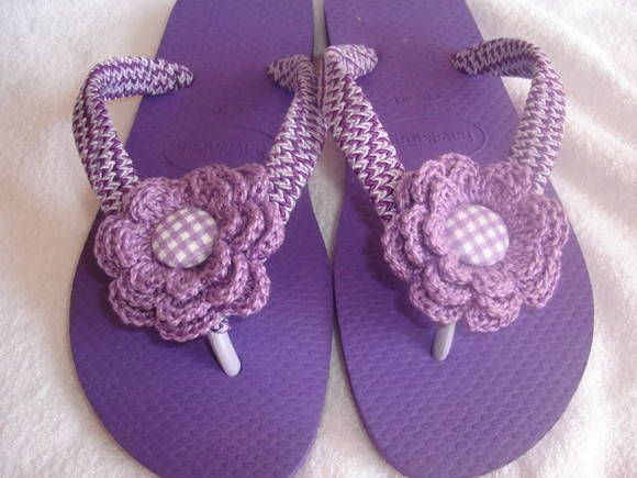 HAVAIANAS TOP C/ FLOR DE CROCHÊ + EMBAL.