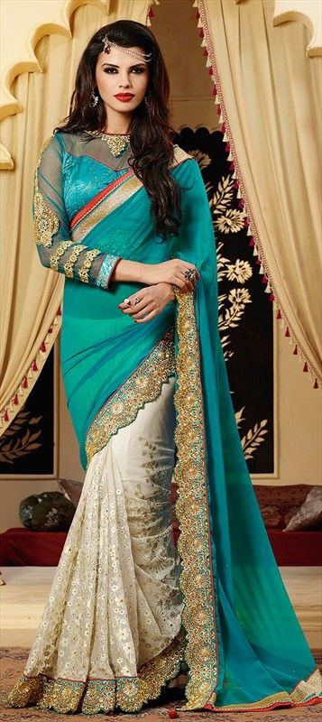 SOFT TONE FOR SUMMER 2015  Order now at flat 15% off. #Saree #Bride #IndianWedding #OnlineShopping #colorblock