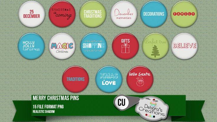 Merry Christmas Pins by Debora's Creations (CU)