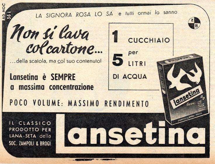 LANSETINA - Detersivo per lana e seta - cm 15x12 (Grazia 1953)