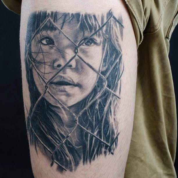 Tattoo wire mesh fence, fishing with portrait   #Tattoo, #Tattooed, #Tattoos