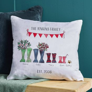Christmas Welly Boot Personalised Cushion Cover