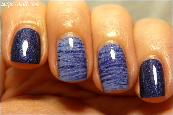 Holo blue fan brush mani nail design nail art for Avon nail decoration brush