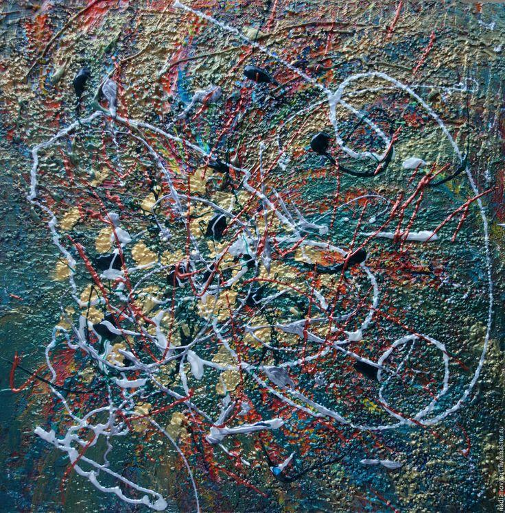 Купить Metallic green abstraction. 2017.Абстракция акрилом. - тёмно-зелёный, абстракция акрилом