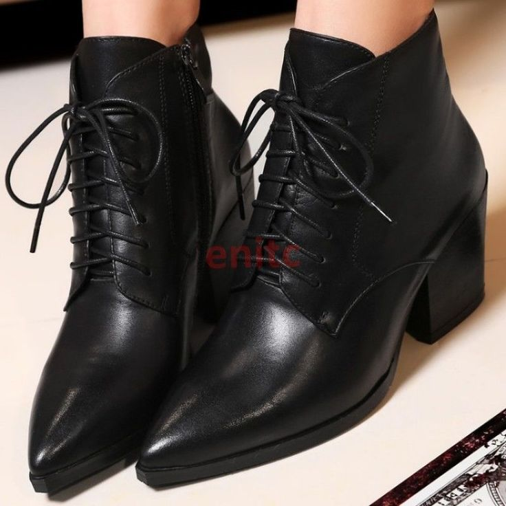 Fashion Leather Pointy Toe Lace Up Mid Cuban Heel Womens Ankle Boots Punk Shoes