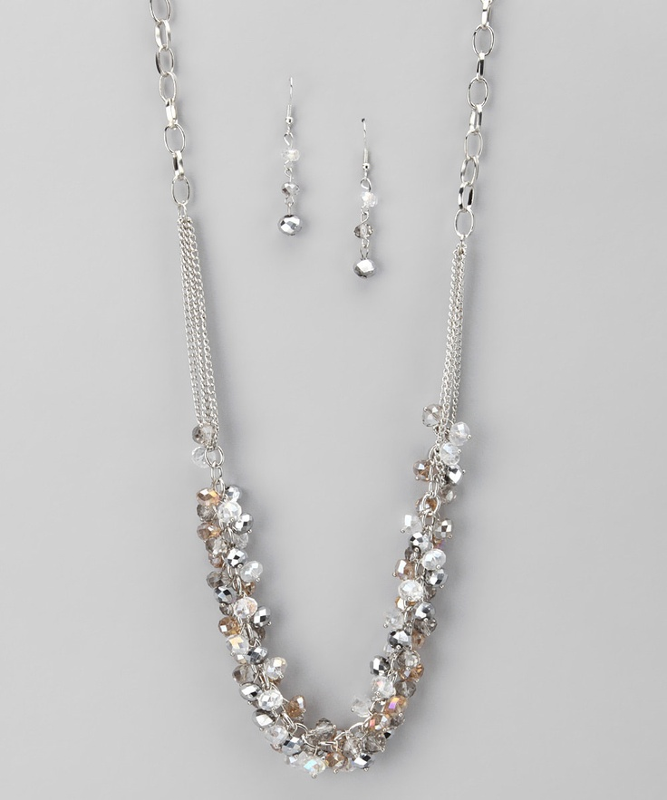 Silver & Clear Crystal Necklace & Earrings