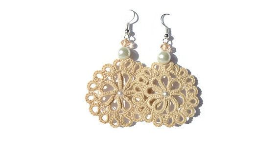 Tatted doilies  filligree nude earrings with by MJsflowerfield