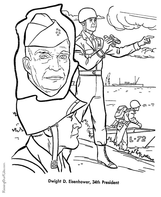 Free Printable President Dwight D Eisenhower Coloring Page