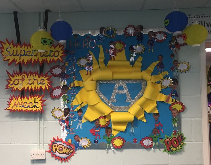 Primary school display. Welcome to our class. Superhero of the week. Made by Charley