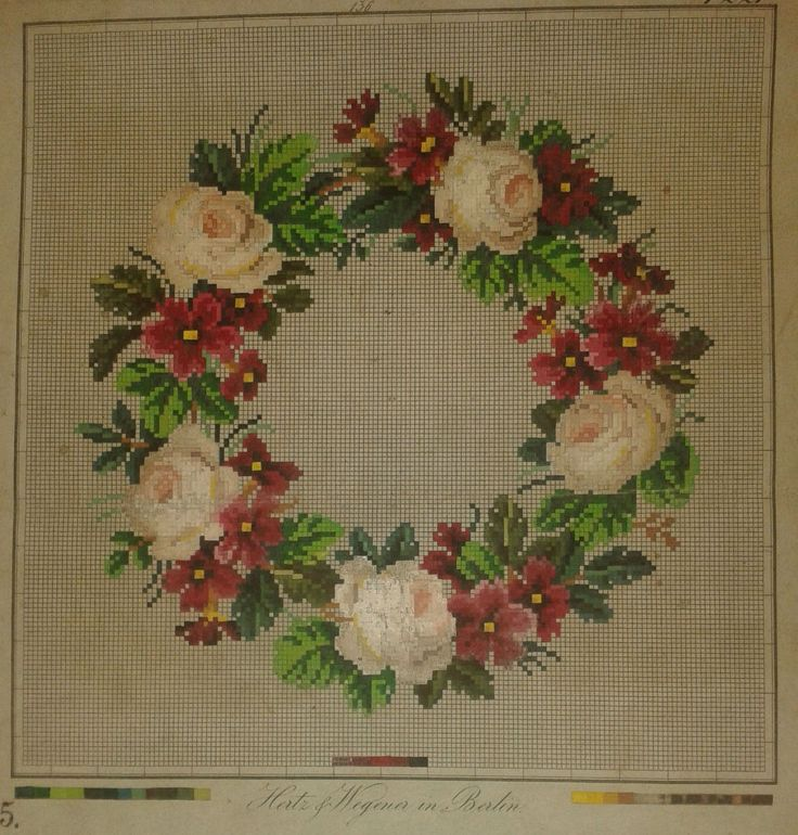 A Beautiful Floral Berlin WoolWork Wreath Pattern Produced by Hertz & Wegener In Berlin
