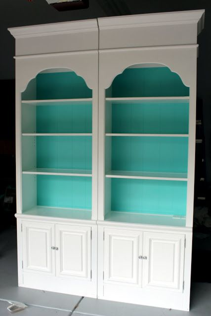 diy Design Fanatic: From Ugly To Beautiful;  This has a great how to on re-purposing some old bookcases. Love how you can use them together or separate.