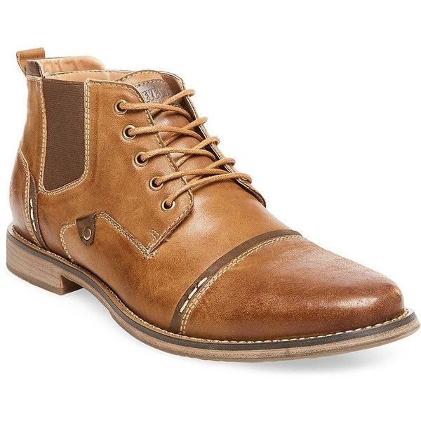 Steve Madden Men's Proxy Casual Leather Chukka Boots ($100) ❤ liked on Polyvore featuring men's fashion, men's shoes, men's boots, tan, steve madden mens boots, mens leather lace up boots, mens leather cap toe boots, steve madden mens shoes and mens chukka boots
