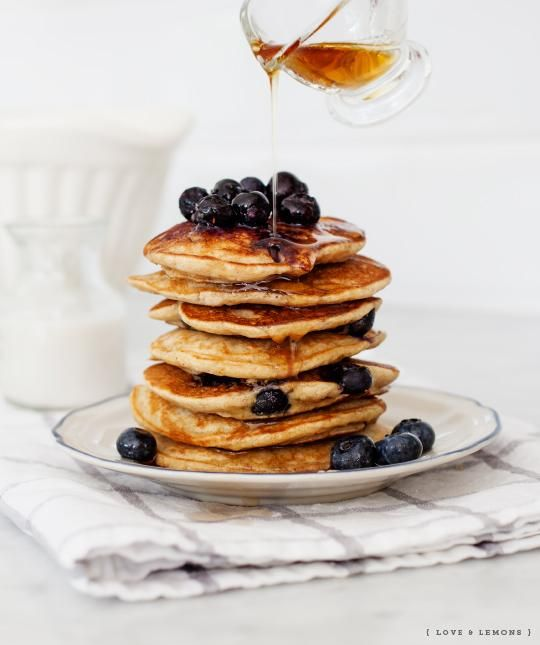 Blueberry banana pancakes, vegan & gluten free / Love and Lemons. Our favorite go to pancakes!