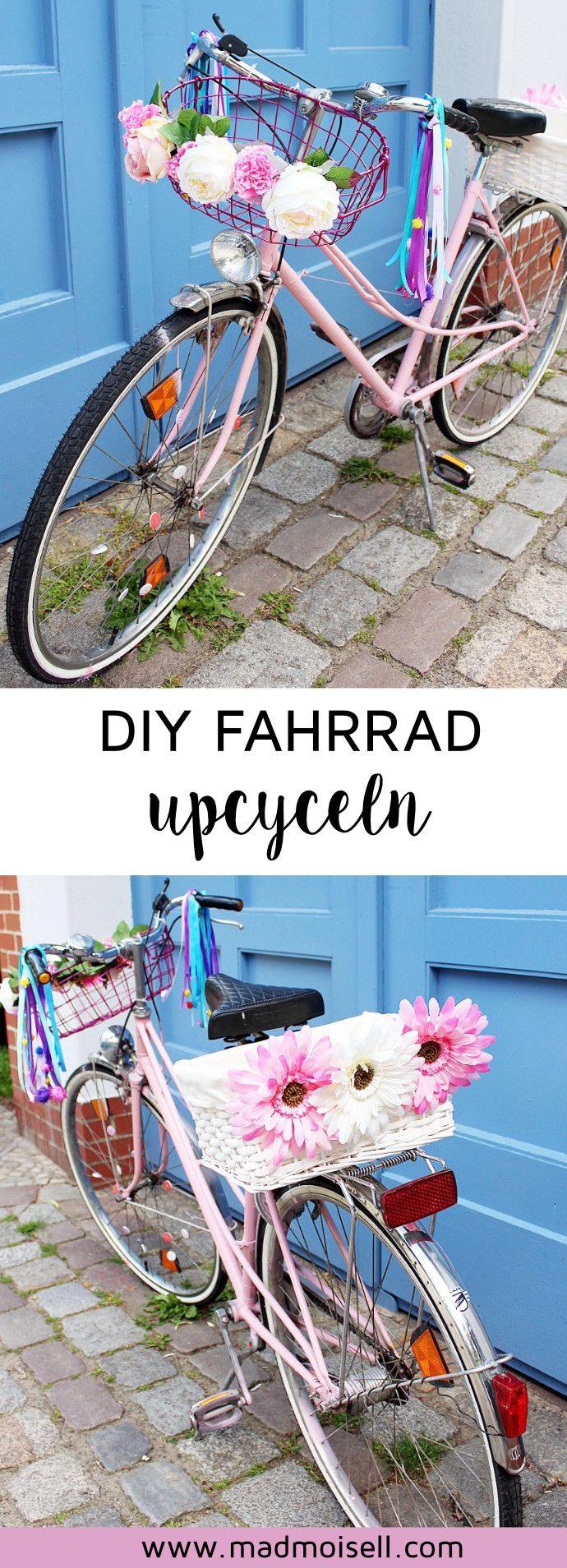 DIY Fahrrad upcyceln: 4 geniale Ideen, um dein altes Fahrrad im Tumblr-Style aufzupumpen! Du hast noch ein altes Fahrrad im Keller stehen? Perfekt, denn dein altes Rad kannst du ganz easy mit wenigen Schritten in ein tolles DIY Fahrrad verwandeln. Alles, was du dazu brauchst, ist Acrylspray, Blumen und Fahrradkörbe... Fertig ist dein neues Vintage-Rad!