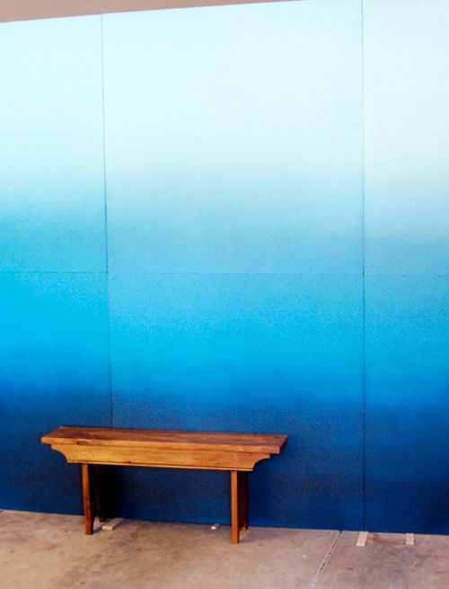 ombre wall: Back Patio, Decor Ideas, Ombre Wall, Sunday Schools, Blue Wall, Laundry Rooms, Projects Ideas, Paintings Wall, Diy Projects