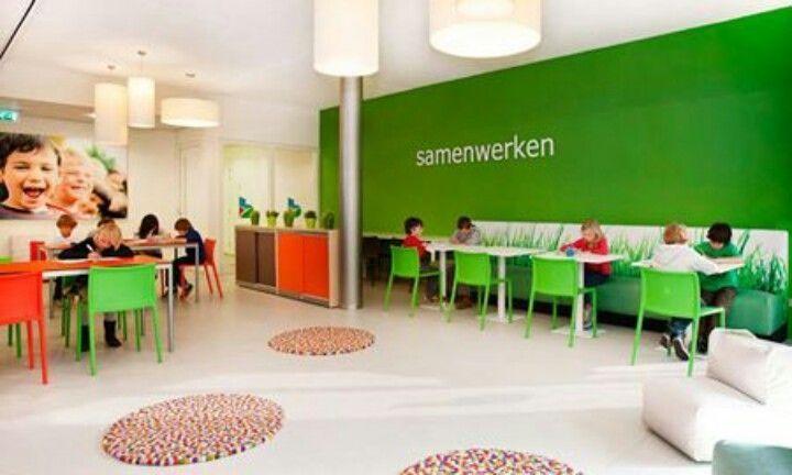 Werkplekken, op de muur de functie van de ruimte beschrijven - onderzoekend leren - alleen leren - samen leren