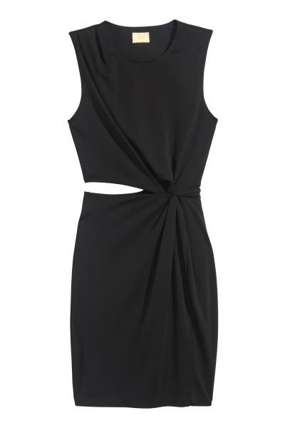 Draped dress: Short, fitted sleeveless dress in jersey with a sheen, with draping on one shoulder, a cut-out section at the waist with draping on the other side and a concealed zip in the side. Jersey lining.
