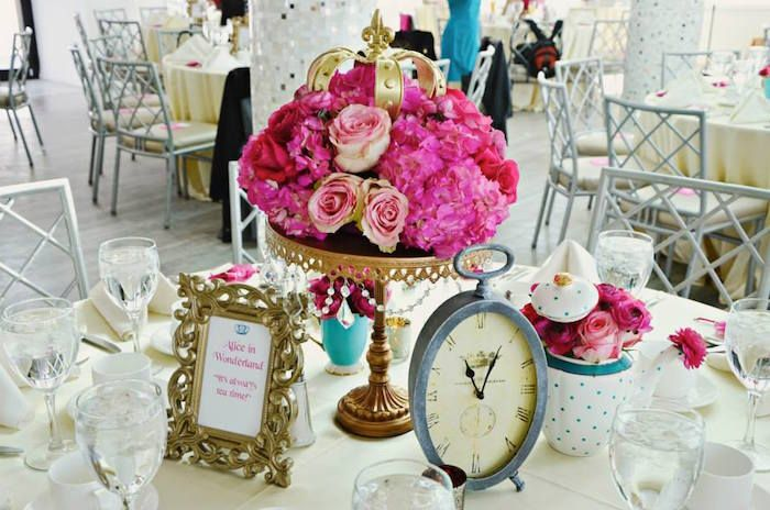 Alice in Wonderland Table Centerpiece at a Fairytale Princess Baby Shower on KarasPartyIdeas.com #fairytale #princess #babyshower