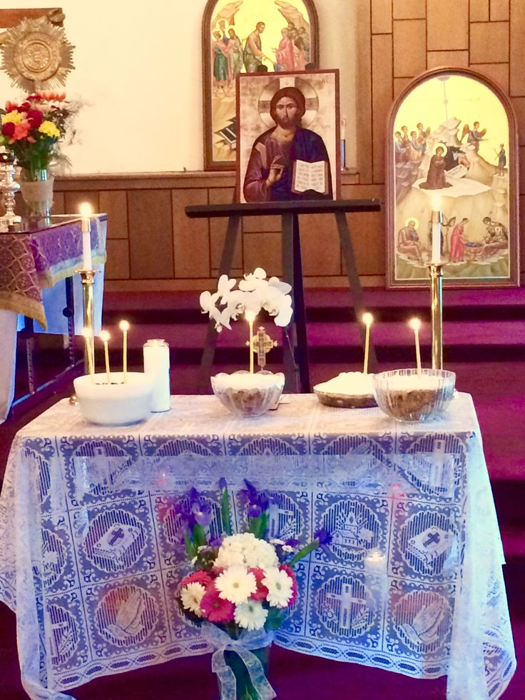 Soul Saturday. Prayers for the departed the first Saturday of Great Lent. On the table is Koliva, a wheat berry sweet dish. It is an ancient reminder of the verse John 12:24 Unless a grain of wheat falls into the ground and dies, it remains alone; but if it dies, it bares much fruit.