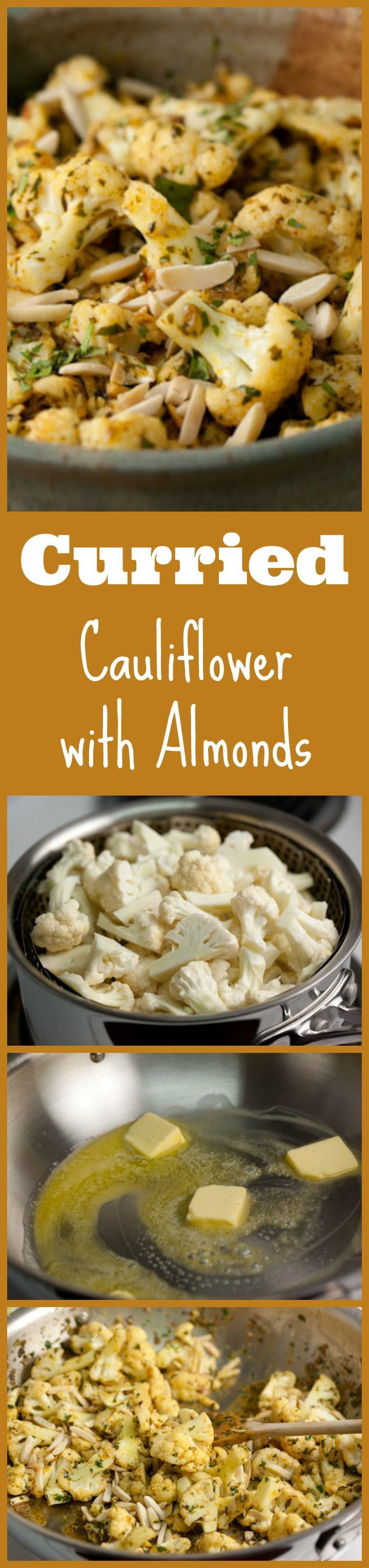 An easy side dish with lots of flavor. This curried cauliflower with almonds is delicious, simple to make, seasonal, and low carb!