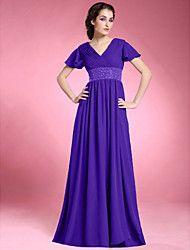 Lanting Bride® Trapèze Grande Taille / Petite Robe de Mère de Mariée  Longueur Sol Manches Courtes Mousseline de soie - Billes / Drapée