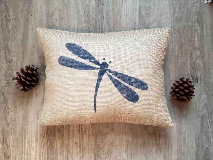 Custom made rustic natural burlap navy blue (or custom color) dragonfly pillow c…   – Navy & White Lakehouse Bedroom