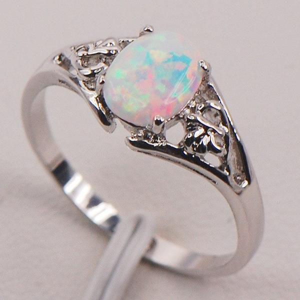 White Fire Australian Opal Silver Ring - AtPerrys Healing Crystals - 1