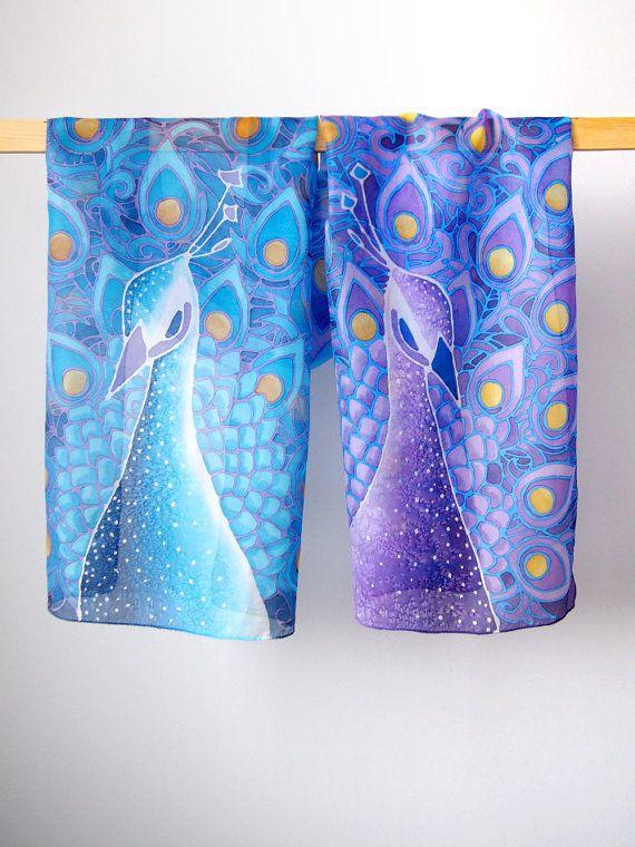 Pavone sciarpa - mano sciarpa dipinta - pavone sciarpa di seta - sciarpe di seta - foulard sciarpa blu - viola sciarpa - - Liberty