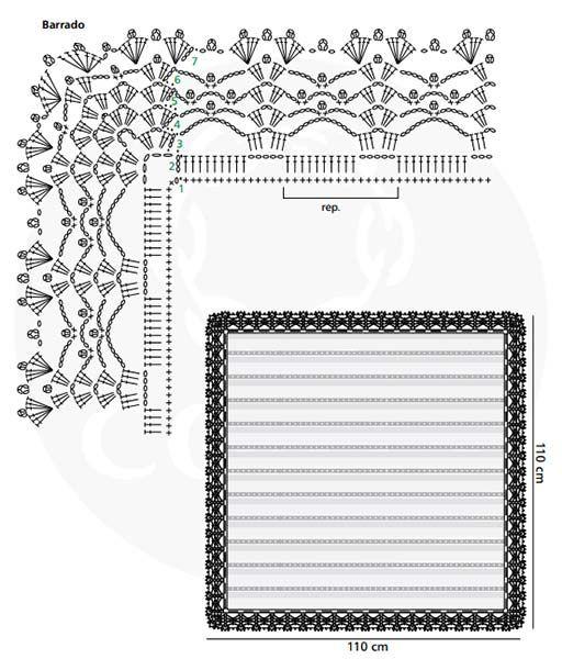 Material: •Cisne Geniale Mel (nov. 100 g): 1 nov. na cor 0000B (branco). •Linha Camila (nov. 1.000 m): 1 nov. na cor 0000B (branco). •Ag. para crochê de aço niquelado Corrente Milward de 0,90 mm Medidas (aprox.): 110 x 110 cm      Abreviaturas e pontos