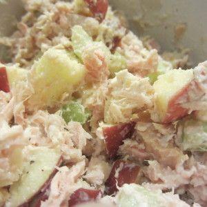 Tuna Salad E. With apples and yogurt.  Tuna 0% Greek yogurt One diced apple One diced stalk celery 1/4 onion diced Onion powder s&p  Add enough yogurt to make creamy, season with salt and pepper, serve over a bed of lettuce or in a Joseph's pita.