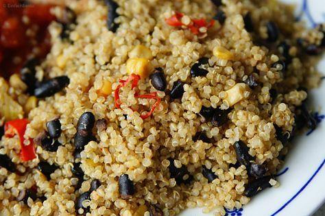 Quinoa mit schwarzen Bohnen #Reiskocher #EinTopfEinGericht #ReisKoerner