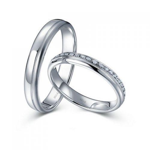 Обручальное кольцо с бриллиантом из белого золота тонкие