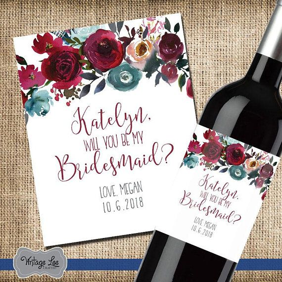 Bridesmaid Gifts Will You Be My Bridesmaid Proposal Wine Labels