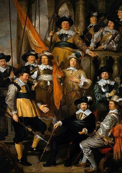 Govert Flinck(1615–1660) The company of Captain Albert Bas and Lieutenant Lucas Conijn, 1645. Militia painting in which the members of theschutterijare placed on a staircase. Aelbert Dircksz Bas is lower center with walking stick, and Lucas Conijn is lower right with walking stick. The other members carry weapons (halberds and rifles) and banners.  Date1645Mediumoil on canvasDimensionsHeight: 347 cm (136.6 in). Width: 244 cm (96.1 in).Current location  Rijksmuseum Amsterdam