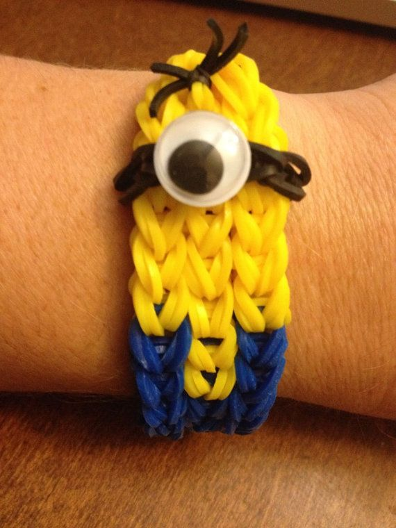 Minion Despicable Me Rainbow Loom Handmade Bracelet Rubber Band on Etsy, $9.99