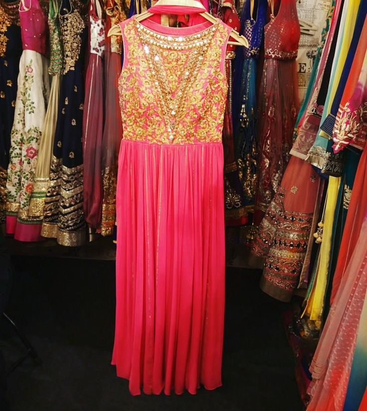 Pink anarkali with gold hand & mirror work  by Abhilasha & Abhishek
