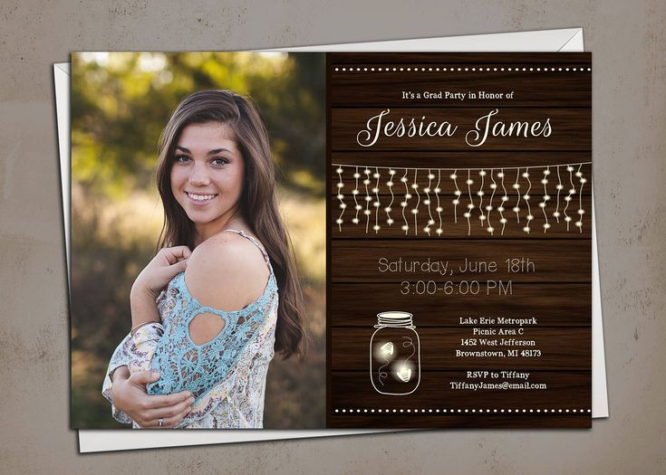 Rustic High School Graduation Party Invitation - Fireflies - Mason Jar by 7MillionWonders on Etsy
