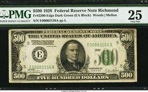 Fr. 2200-E $500 1928 Federal Reserve Note. PMG Very Fine 25.