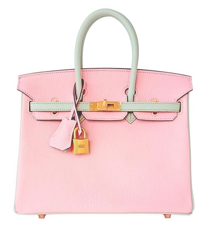 #Hermes Birkin #Bag Bi-Color Rose Sakura and Gris Perle Chèvre Gold Hardware