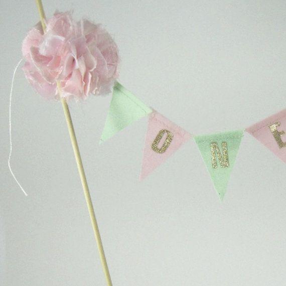 Custom Pink Mint Gold Cake Smash cake banner by Hartranftdesign, $25.00