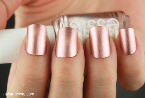 Unhas decoradas ouro rosa