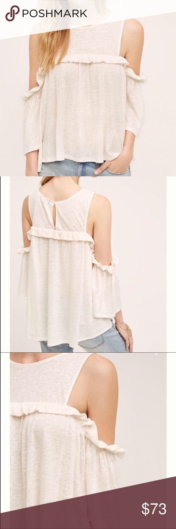 New Anthropologie Brand Off the Shoulder Ivory Top Purchased from Anthropologie⚜️I love receiving offers through the offer button!⚜️ Brand new with tags! Fast same or next day shipping!📨 Open to offers but I don't negotiate in the comments so please use the offer button😊 Anthropologie Tops