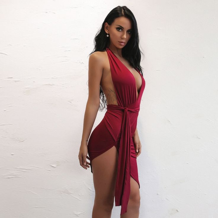 2017 summer new women sleeveless deep V halter bodycon dress fashion sexy solid package hip nightclub dresses vestidos
