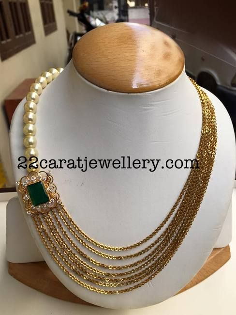 Chandra Haram with Pearls - Jewellery Designs