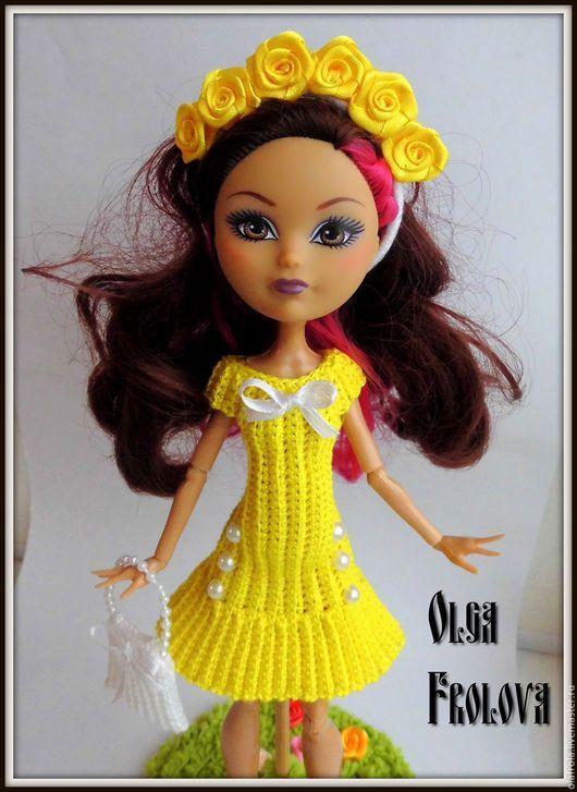 """Одежда для кукол ручной работы. Ярмарка Мастеров - ручная работа. Купить Вязаное платье для кукол МХ и ЭАХ """"Цветущий лимон"""". Handmade."""