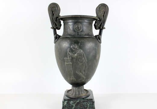 Beautiful Urn With Marble Base Hellenic Design Metals Decor And Swans